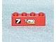 Part No: 3010pb124L  Name: Brick 1 x 4 with '7 TURBO RACER' Pattern Model Left (Sticker) - Set 7801