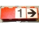 Part No: 3010pb177  Name: Brick 1 x 4 with Black Number 1 and Black Arrow on White Background Pattern (Stickers) - Set 148