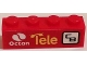 Part No: 3010pb184L  Name: Brick 1 x 4 with Octan Logo, 'Tele', and 'CB' Pattern Model Left Side (Sticker) - Set 60084