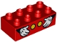 Part No: 3011pb055  Name: Duplo, Brick 2 x 4 with 2 Yellow Buttons and Mickey Mouse Hands Pattern