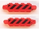 Part No: 30387pb017  Name: Hinge Brick 1 x 4 Locking, 9 Teeth with Black and Red Danger Stripes Pattern on Both Sides (Stickers) - Sets 60161 / 60162