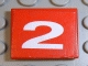 Part No: 3068bpb0113  Name: Tile 2 x 2 with Groove with Number  2 White on Red Background Pattern (Sticker) - Set 8280
