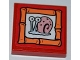 Part No: 3068bpb0463  Name: Tile 2 x 2 with Groove with Snail 'Gary' Portrait on Red Background Pattern (Sticker) - Set 3834