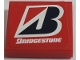 Part No: 3068bpb1338  Name: Tile 2 x 2 with Groove with White 'BRIDGESTONE' and Logo on Red Background Pattern (Sticker) - Set 8157