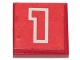 Part No: 3068pb27  Name: Tile 2 x 2 with Number  1 Red with White Outline on Red Background Pattern (Sticker) - Set 6382