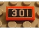 Part No: 3069bpb0069  Name: Tile 1 x 2 with Groove with '301' Pattern (Sticker) - Set 10020