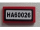 Part No: 3069bpb0285  Name: Tile 1 x 2 with Groove with 'HA60026' Pattern (Sticker) - Set 60026