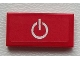 Part No: 3069bpb0392  Name: Tile 1 x 2 with Groove with Power Button on Red Background Pattern  (Sticker) - Set 60051