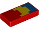 Part No: 3069bpb0699  Name: Tile 1 x 2 with Groove with Pixelated Yellow and Blue Pattern (Minecraft Parrot Wing)