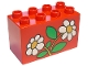 Part No: 31111pb015  Name: Duplo, Brick 2 x 4 x 2 with 2 Flowers White Daisies Pattern