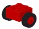Part No: 3137c01assy1  Name: Brick, Modified 2 x 2 with Wheels Red for Single Tire, with Black Tires 14mm D. x 4mm Smooth Small Single (3137c01 / 3139)