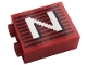 Part No: 3245cpb145L  Name: Brick 1 x 2 x 2 with Inside Stud Holder with Gray Stripes and White Capital Letter N Pattern Model Left Side (Sticker) - Set 10272