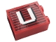 Part No: 3245cpb151  Name: Brick 1 x 2 x 2 with Inside Stud Holder with Gray Stripes and White Capital Letter U Pattern (Sticker) - Set 10272