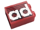 Part No: 3245cpb157  Name: Brick 1 x 2 x 2 with Inside Stud Holder with Gray Stripes and White 'ad' Pattern (Sticker) - Set 10272