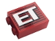 Part No: 3245cpb160  Name: Brick 1 x 2 x 2 with Inside Stud Holder with Gray Stripes and White 'ET' Pattern (Sticker) - Set 10272