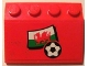 Part No: 3297pb006  Name: Slope 33 3 x 4 with Flag of Wales and Soccer Ball on Red Background Pattern (Sticker) - Set 3407