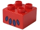Part No: 3437pb009  Name: Duplo, Brick 2 x 2 with Lion's Paw/Foot Pattern