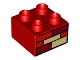 Part No: 3437pb042  Name: Duplo, Brick 2 x 2 with Red, Dark Red, and Tan Bricks Pattern
