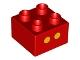 Part No: 3437pb045  Name: Duplo, Brick 2 x 2 with 2 Yellow Dots Pattern