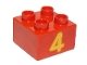 Part No: 3437pb066  Name: Duplo, Brick 2 x 2 with Number 4 Bright Light Orange Pattern