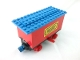 Part No: 3443c04pb02  Name: Train Battery Box Car with Two Contact Holes, Red Switch Lever, Blue and Red Magnets, Red Wheels, and Blue Roof with 'International TRANSPORT' Pattern on Both Sides (Stickers)