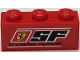 Part No: 3622pb115  Name: Brick 1 x 3 with Ferrari Logo, 'SF', 'SCUDERIA FERRARI' and White Lines Pattern (Sticker) - Set 8185