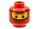 Part No: 3626bpb0177  Name: Minifigure, Head Balaclava with Brown Eyebrows, White Spot in Eyes Pattern (Spider-Man 2) - Blocked Open Stud