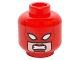 Part No: 3626cpb1469  Name: Minifigure, Head Female Mask with White Eyes over Light Nougat Face, Red Lips, Clenched Teeth Pattern (Captain Marvel) - Hollow Stud