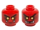 Part No: 3626cpb1488  Name: Minifigure, Head Dual Sided Alien Black Eyebrows, Yellow Eyes, Dark Red Spots, 2 Fangs, Closed Mouth / Open Mouth Teeth Pattern - Hollow Stud
