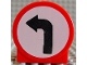 Part No: 41970pb02  Name: Duplo, Brick 1 x 3 x 2 Round Top Road Sign with Left Turning Arrow Pattern