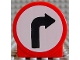 Part No: 41970pb03  Name: Duplo, Brick 1 x 3 x 2 Round Top Road Sign with Right Turning Arrow Pattern