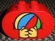Part No: 4198px14  Name: Duplo, Brick 2 x 4 x 2 Rounded Ends with Hands Holding Ball Pattern