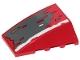 Part No: 47753pb087  Name: Wedge 4 x 4 No Studs with Dark Bluish Gray, Dark Tan, Red and White Patches Pattern (Sticker) - Set 75250