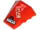 Part No: 47753pb095  Name: Wedge 4 x 4 No Studs with Blue 'Dragon', White Ninjago Logogram 'FIRE' and Coral Symbol Pattern (Sticker) - Set 71707