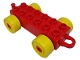 Part No: 4883c01  Name: Duplo Car Base 2 x 6 with Yellow Wheels and Closed Hitch End