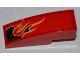 Part No: 50950pb040L  Name: Slope, Curved 3 x 1 No Studs with Black Flames with Orange Outline Pattern Model Left Side (Sticker) - Set 8227
