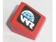 Part No: 54200pb081L  Name: Slope 30 1 x 1 x 2/3 with Globe and White 'WR' World Racer Logo Pattern Model Left Side (Sticker) - Set 8864