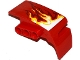 Part No: 61071pb006  Name: Technic, Panel Car Mudguard Left with White, Yellow and Dark Red Flames Pattern (Sticker) - Set 70727