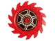 Part No: 61403pb04  Name: Technic, Circular Saw Blade 9 x 9 with Pin Hole and Teeth in Same Direction with Wheel Spokes and Hub Pattern on Both Sides (Stickers) - Set 70642