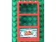 Part No: 6160c03pb09  Name: Window 1 x 4 x 6 Frame with 3 Panes, Fixed Glass with Trans-Light Blue Glass with Pizza Pointing Right Pattern (Sticker) - Set 4556