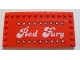 Part No: 6178pb008  Name: Tile, Modified 6 x 12 with Studs on Edges with White 'Red Fury' and Stars Pattern (Sticker) - Set 5533