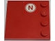 Part No: 6179pb175  Name: Tile, Modified 4 x 4 with Studs on Edge with Red Letter N on White Circle Pattern (Sticker) - Set 8157