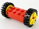 Part No: 6249c02  Name: Brick, Modified 2 x 4 with Pins with 2 Yellow Wheel FreeStyle with Technic Pin Hole and 2 Black Tire 24mm D. x 8mm Offset Tread (6249 / 6248 / 3483)