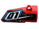 Part No: 64391pb051  Name: Technic, Panel Fairing # 4 Small Smooth Long, Side B with '01', Fuel Hole and White Stripe on Black Background Pattern (Sticker) - Set 42073
