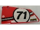 Part No: 64392pb023  Name: Technic, Panel Fairing #17 Large Smooth, Side A with Number 71 and 'FRAME WORK' Pattern (Sticker) - Set 42000