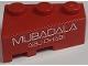 Part No: 6564pb19  Name: Wedge 3 x 2 Right with White 'MUBADALA ABU DHABI' on Red Background Pattern (Sticker) - Set 8157