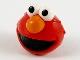 Part No: 70600pb01  Name: Minifigure, Head, Modified Sesame Street Elmo with White Eyes, Orange Nose and Black Mouth Pattern