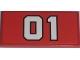 Part No: 87079pb0019  Name: Tile 2 x 4 with White '01' Pattern (Sticker) - Set 7208