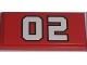 Part No: 87079pb0020  Name: Tile 2 x 4 with White '02' Pattern (Sticker) - Set 7208