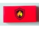 Part No: 87079pb0105  Name: Tile 2 x 4 with Black and Yellow Fire Logo Badge Pattern (Sticker) - Set 60004
